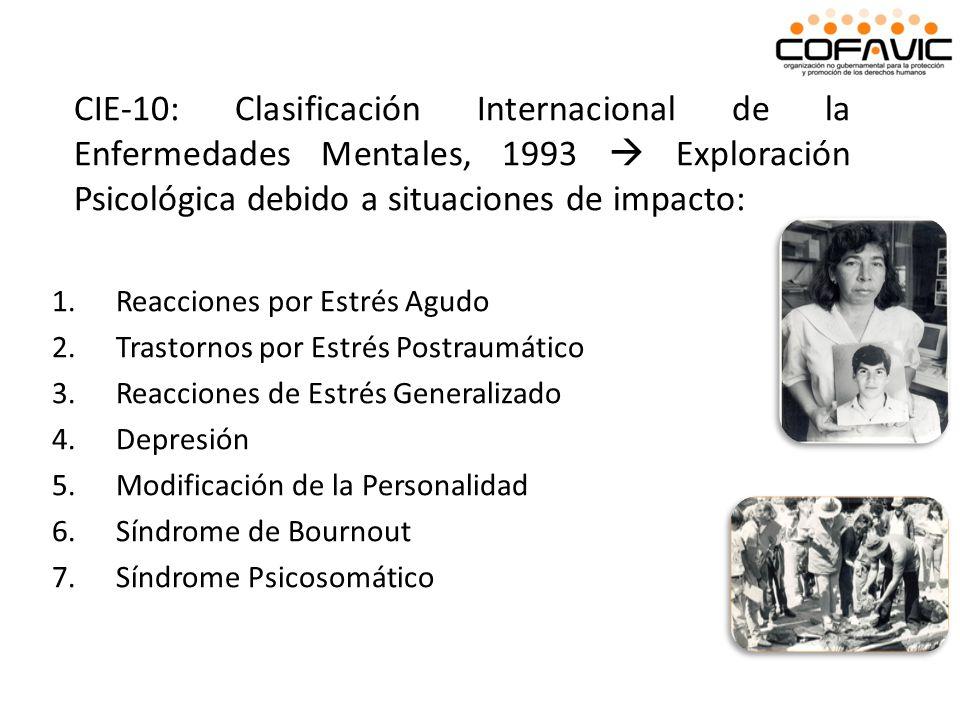CIE-10: Clasificación Internacional de la Enfermedades Mentales, 1993 Exploración Psicológica debido a situaciones de impacto: 1.Reacciones por Estrés