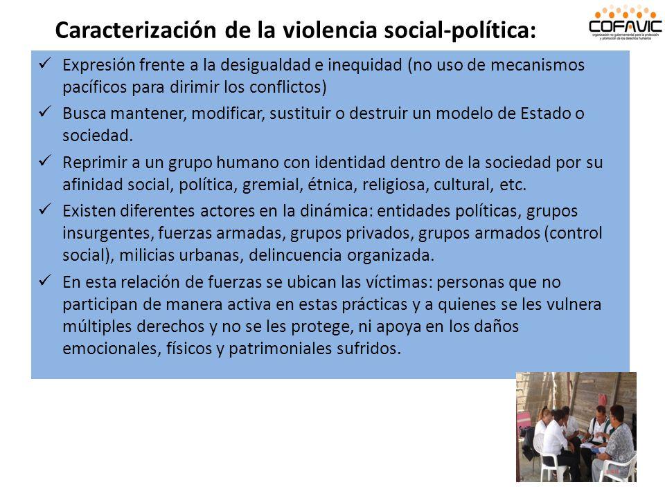 Expresión frente a la desigualdad e inequidad (no uso de mecanismos pacíficos para dirimir los conflictos) Busca mantener, modificar, sustituir o dest