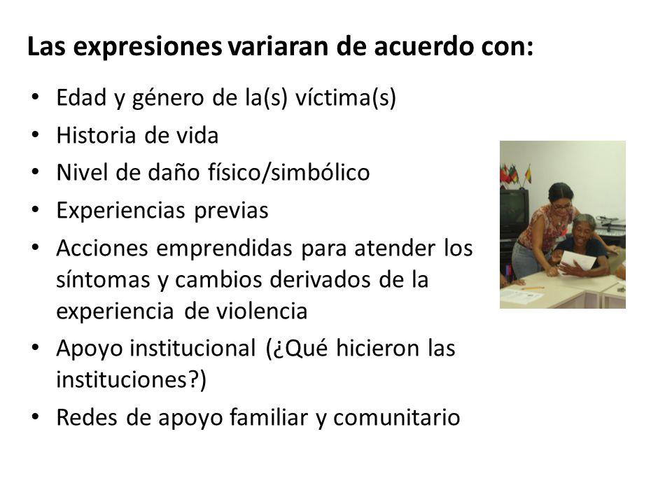 Las expresiones variaran de acuerdo con: Edad y género de la(s) víctima(s) Historia de vida Nivel de daño físico/simbólico Experiencias previas Accion