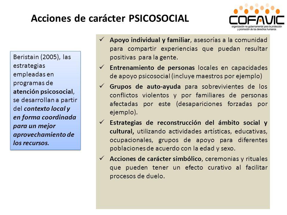 Acciones de carácter PSICOSOCIAL Apoyo individual y familiar, asesorías a la comunidad para compartir experiencias que puedan resultar positivas para