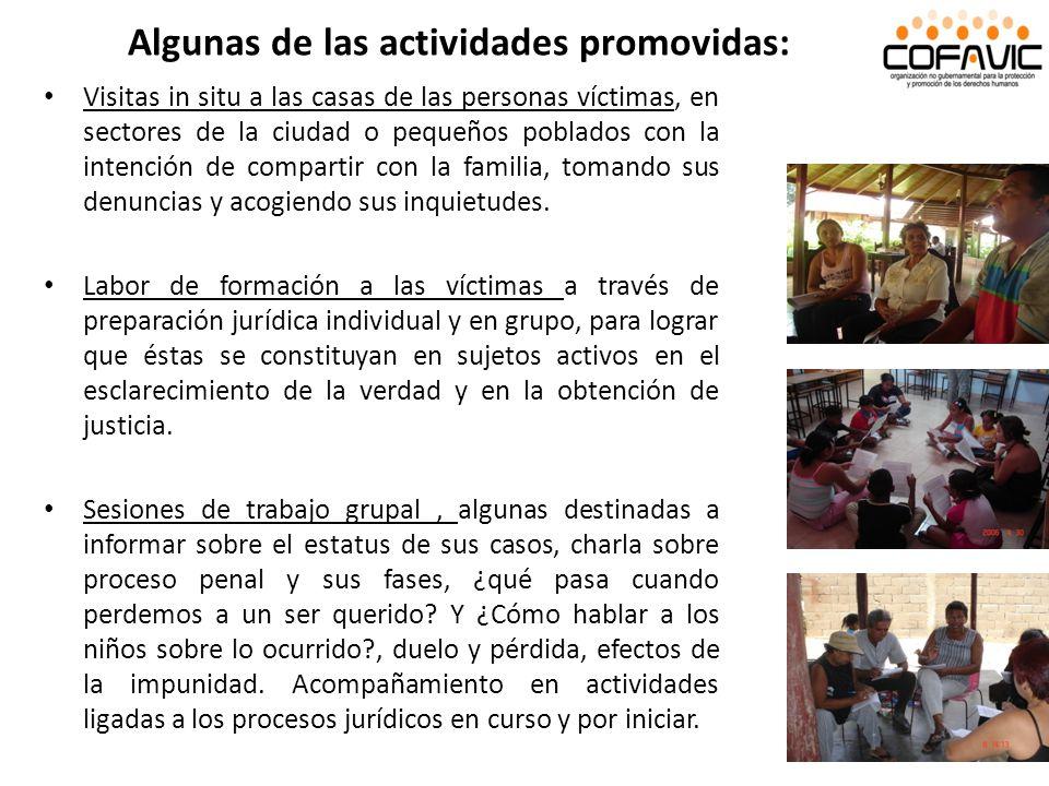 Algunas de las actividades promovidas: Visitas in situ a las casas de las personas víctimas, en sectores de la ciudad o pequeños poblados con la inten