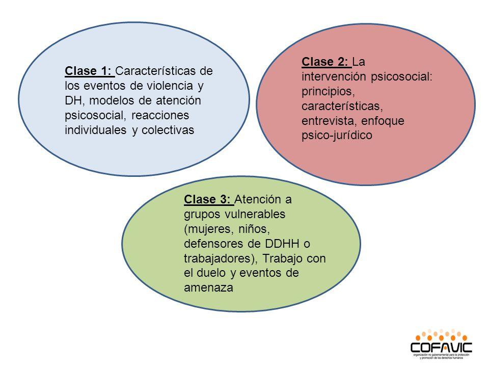 Clase 1: Características de los eventos de violencia y DH, modelos de atención psicosocial, reacciones individuales y colectivas Clase 2: La intervenc