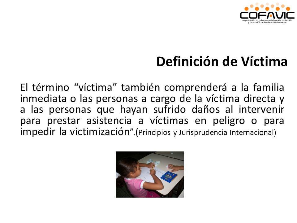 El término víctima también comprenderá a la familia inmediata o las personas a cargo de la víctima directa y a las personas que hayan sufrido daños al