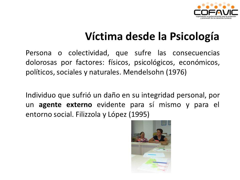 Persona o colectividad, que sufre las consecuencias dolorosas por factores: físicos, psicológicos, económicos, políticos, sociales y naturales. Mendel