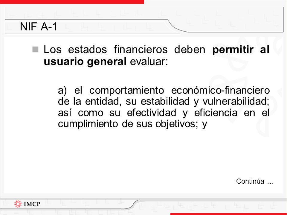 Los estados financieros deben permitir al usuario general evaluar: a) el comportamiento económico-financiero de la entidad, su estabilidad y vulnerabi