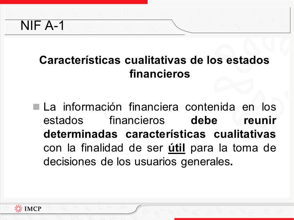 Características cualitativas de los estados financieros La información financiera contenida en los estados financieros debe reunir determinadas caract
