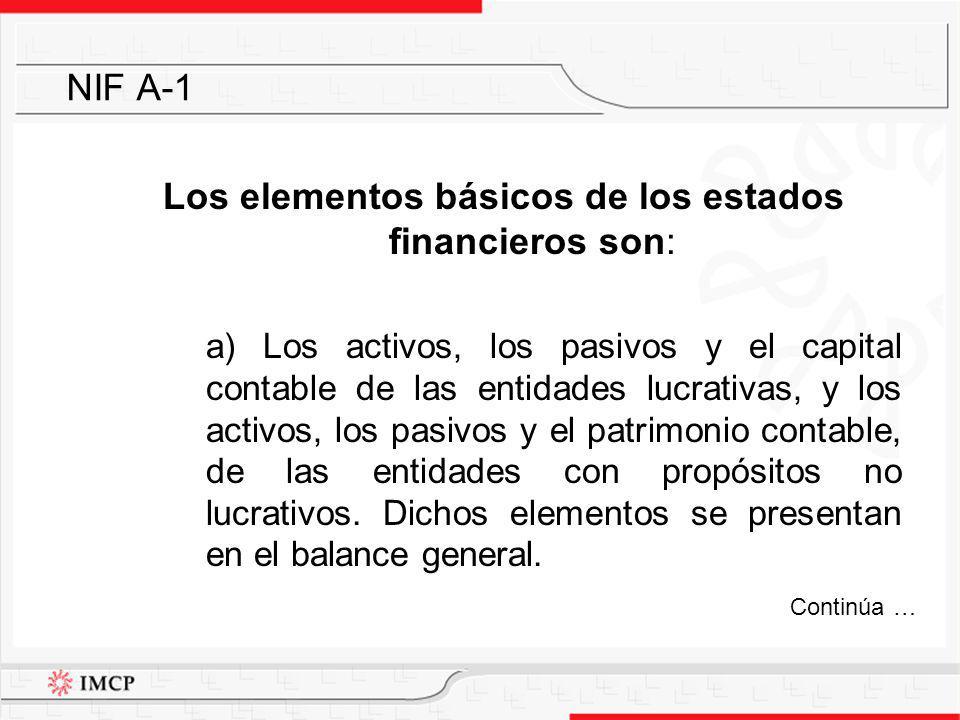 Los elementos básicos de los estados financieros son: a) Los activos, los pasivos y el capital contable de las entidades lucrativas, y los activos, lo