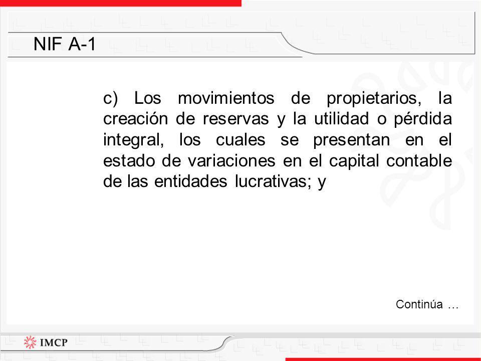 c) Los movimientos de propietarios, la creación de reservas y la utilidad o pérdida integral, los cuales se presentan en el estado de variaciones en e