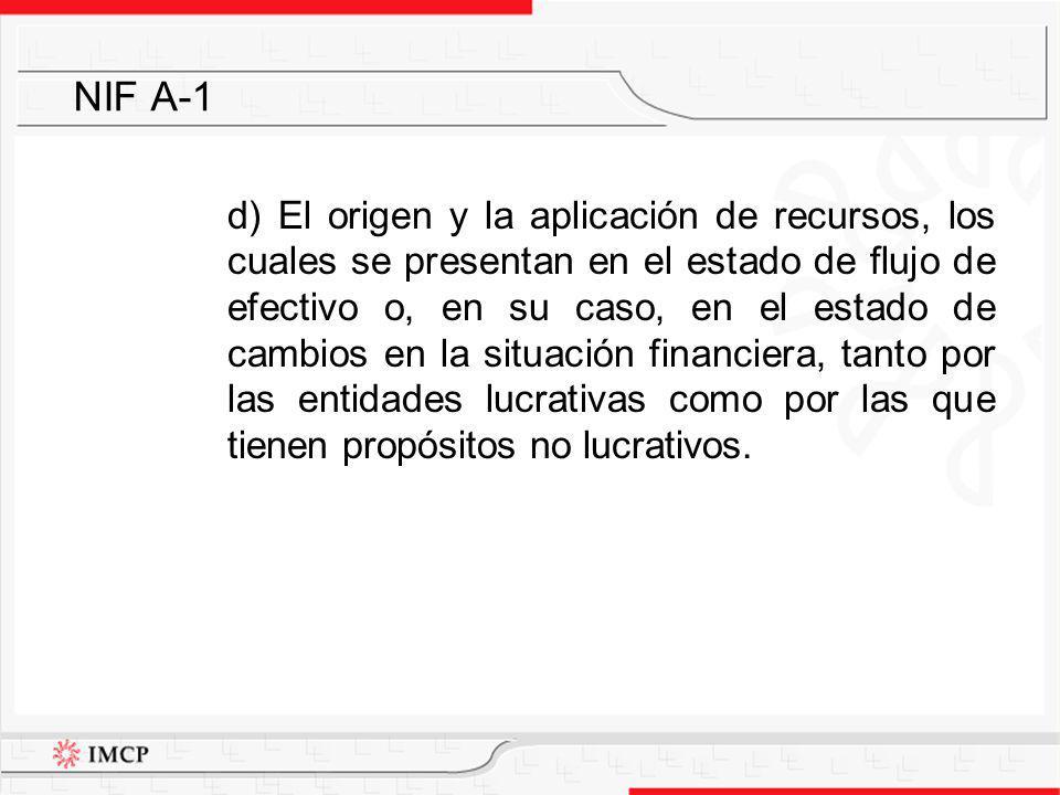 d) El origen y la aplicación de recursos, los cuales se presentan en el estado de flujo de efectivo o, en su caso, en el estado de cambios en la situa