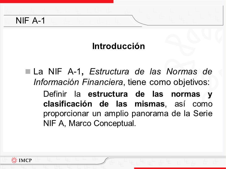 Introducción La NIF A-1, Estructura de las Normas de Información Financiera, tiene como objetivos: Definir la estructura de las normas y clasificación