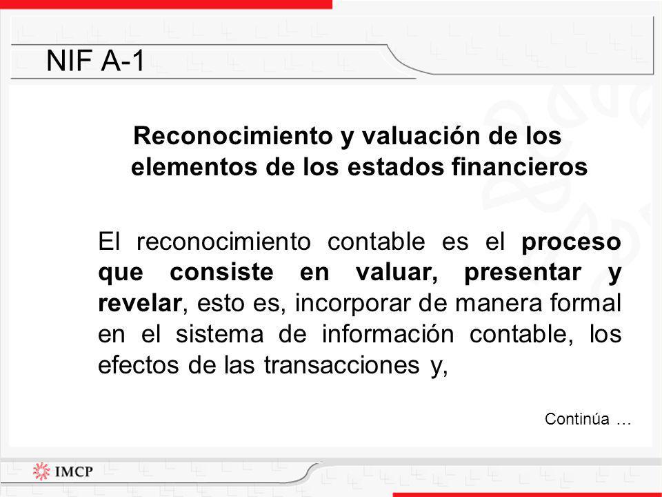 Reconocimiento y valuación de los elementos de los estados financieros El reconocimiento contable es el proceso que consiste en valuar, presentar y re
