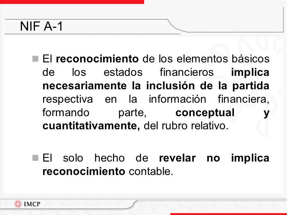El reconocimiento contable se presenta en dos etapas: a)reconocimiento inicial – proceso de valuar, presentar y revelar una partida por primera vez en los estados financieros, al considerarse devengada; y NIF A-1 Continúa …