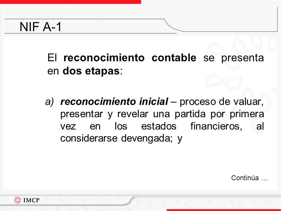 El reconocimiento contable se presenta en dos etapas: a)reconocimiento inicial – proceso de valuar, presentar y revelar una partida por primera vez en