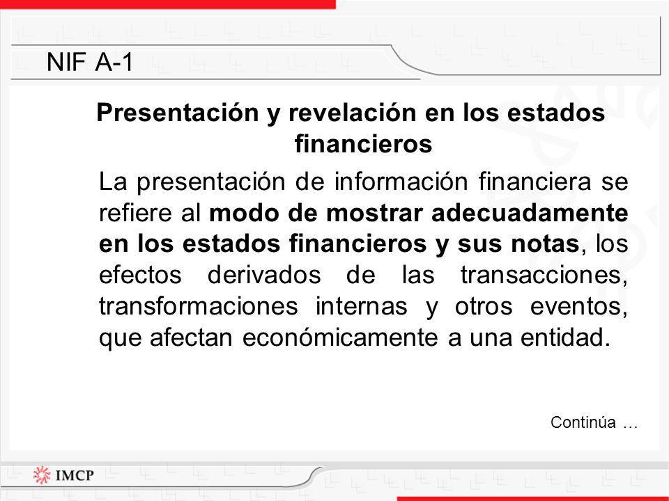 Presentación y revelación en los estados financieros La presentación de información financiera se refiere al modo de mostrar adecuadamente en los esta