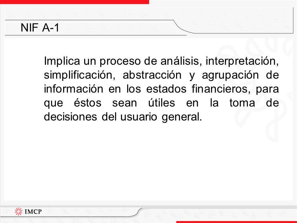Implica un proceso de análisis, interpretación, simplificación, abstracción y agrupación de información en los estados financieros, para que éstos sea