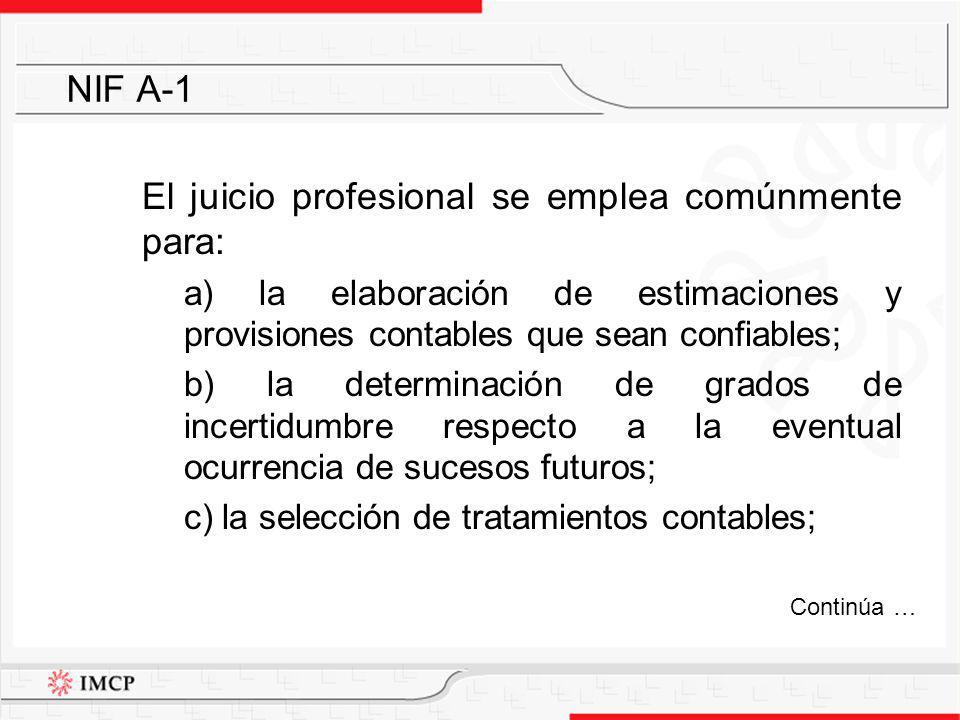 d) la elección de normas contables supletorias a las NIF, cuando sea procedente; e) el establecimiento de tratamientos contables particulares; y f) lograr el equilibrio entre las características cualitativas de la información financiera.