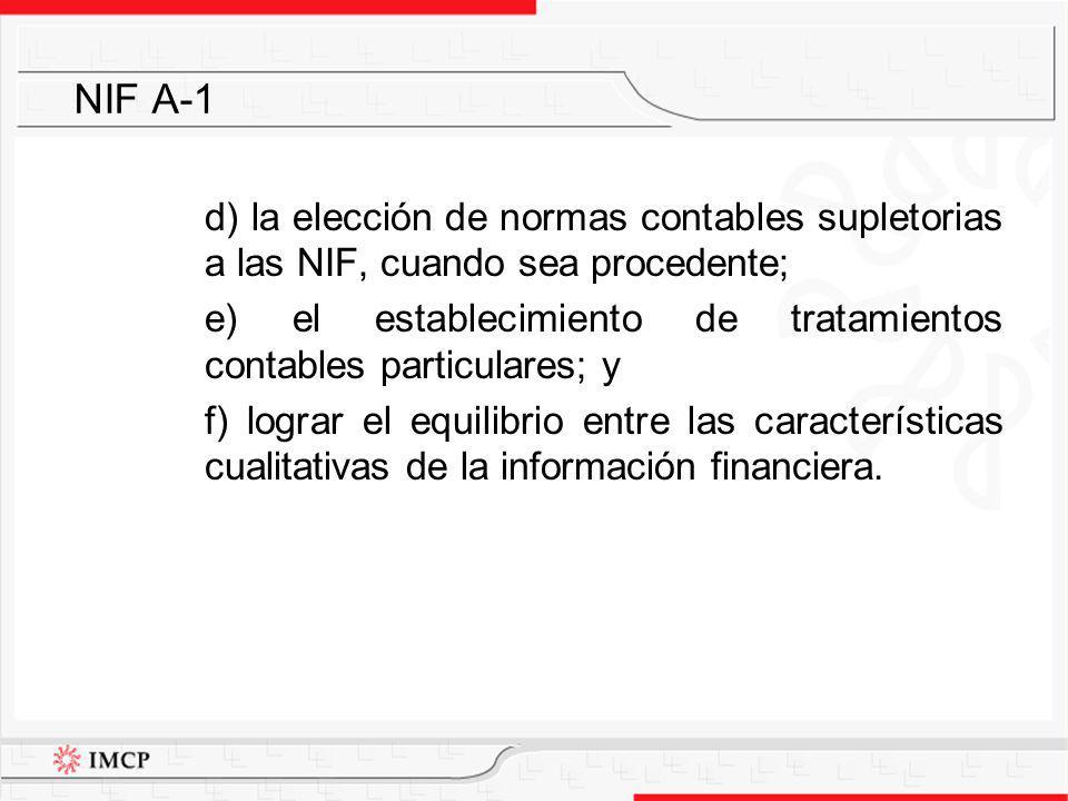d) la elección de normas contables supletorias a las NIF, cuando sea procedente; e) el establecimiento de tratamientos contables particulares; y f) lo