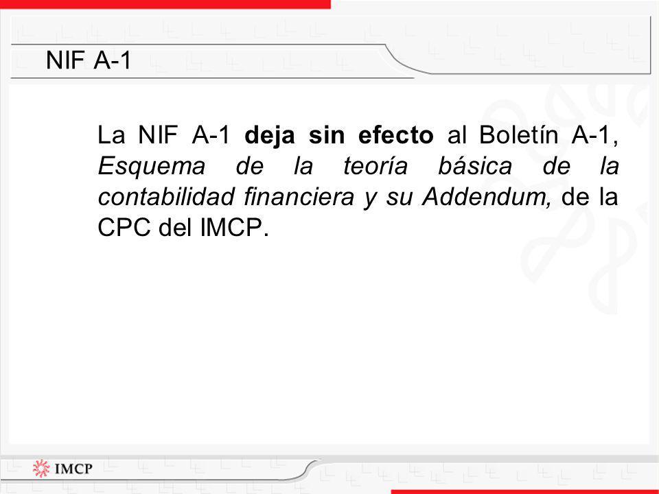 La NIF A-1 deja sin efecto al Boletín A-1, Esquema de la teoría básica de la contabilidad financiera y su Addendum, de la CPC del IMCP. NIF A-1