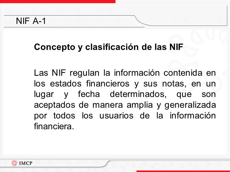 Clasificación de las NIF Marco Conceptual NIF A-1 NIF A-2 NIF A-3 NIF A-4 NIF A-5 NIF A-6 NIF A-7 NIF A-8 NIF Particulares NIF B-1 Boletines en vigor de la CPC del IMCP: o Serie B (excepto los Boletines B-1 y B-2) o Serie C o Serie D o Serie E INIF – Interpretaciones a las NIF NIF A-1