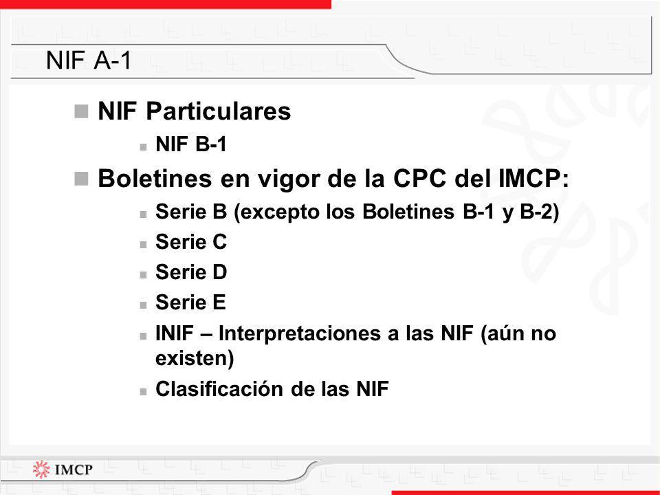 NIF Particulares NIF B-1 Boletines en vigor de la CPC del IMCP: Serie B (excepto los Boletines B-1 y B-2) Serie C Serie D Serie E INIF – Interpretacio