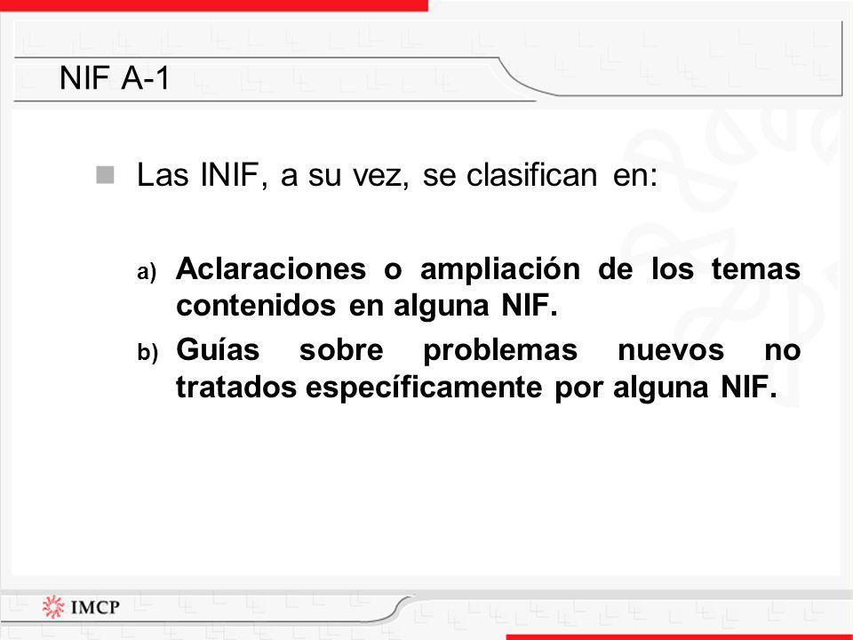 Las INIF, a su vez, se clasifican en: a) Aclaraciones o ampliación de los temas contenidos en alguna NIF. b) Guías sobre problemas nuevos no tratados