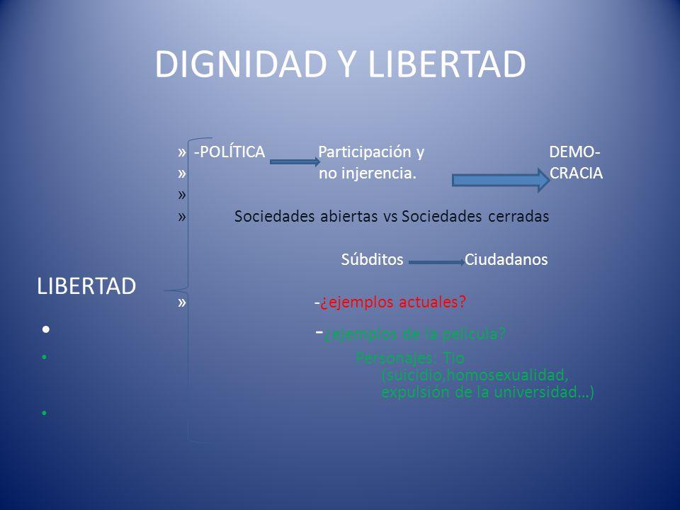 PRINCIPIO AXIOLÓGICO CLAVE: LA DIGNIDAD INALIENABLE DE LA PERSONA. - Un principio de prescriptividad moral: Respeto de la libertad e igualdad de los d