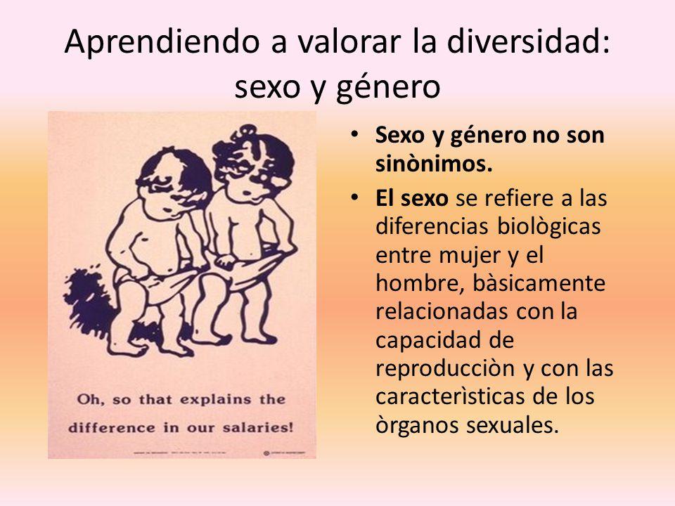 Aprendiendo a valorar la diversidad: sexo y género Sexo y género no son sinònimos. El sexo se refiere a las diferencias biològicas entre mujer y el ho