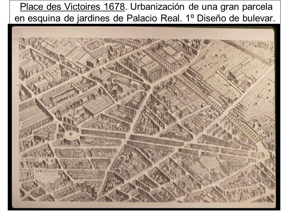 Place des Victoires 1678.Urbanización de una gran parcela en esquina de jardines de Palacio Real.