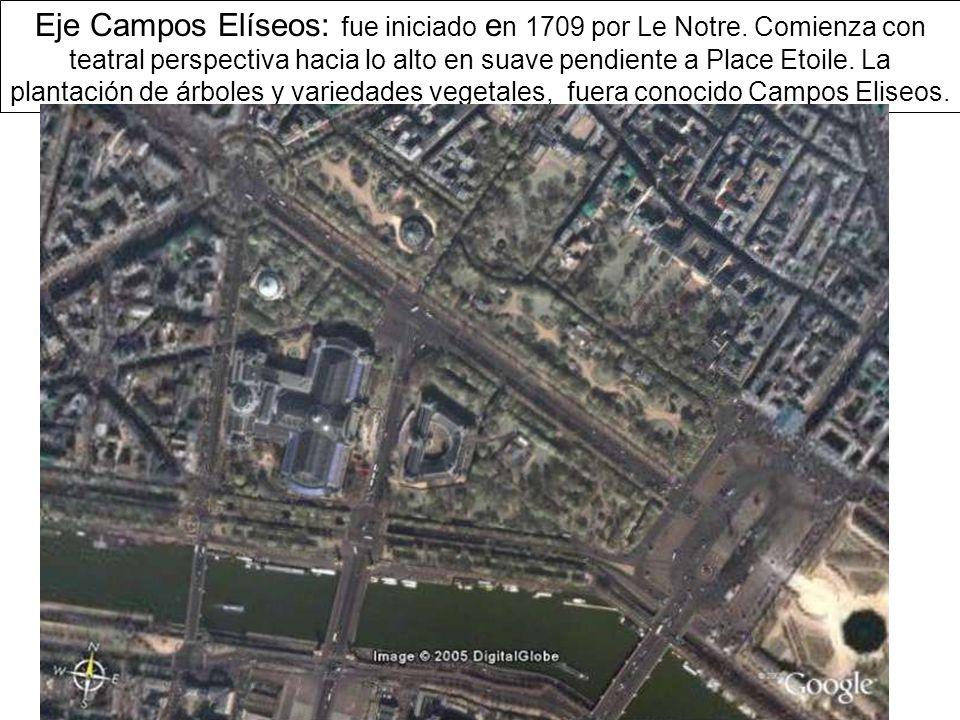 Eje Campos Elíseos: fue iniciado e n 1709 por Le Notre.