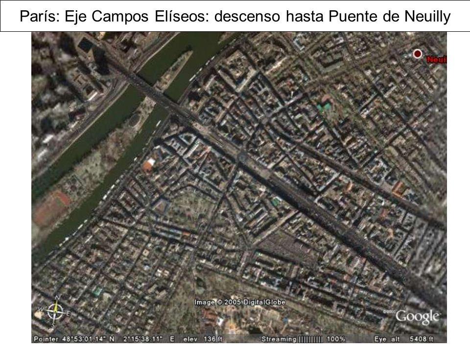París: Eje Campos Elíseos: descenso hasta Puente de Neuilly