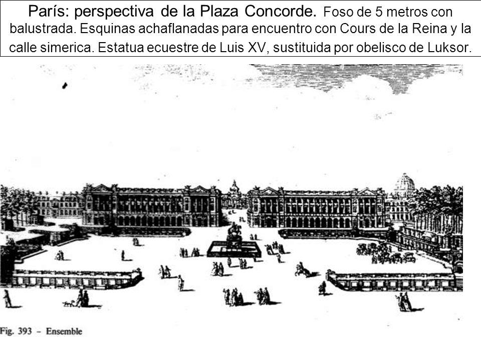 París: perspectiva de la Plaza Concorde.Foso de 5 metros con balustrada.