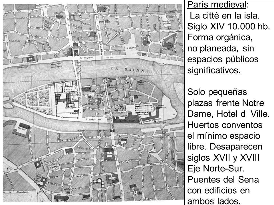 París medieval: La cittè en la isla.Siglo XIV 10.000 hb.