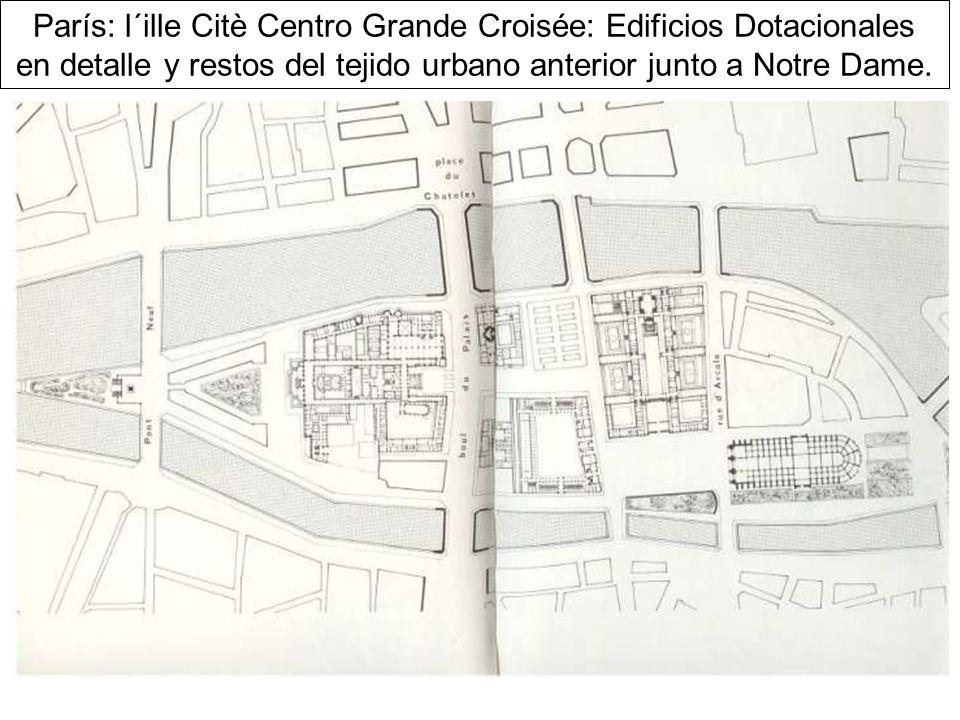 París: l´ille Citè Centro Grande Croisée: Edificios Dotacionales en detalle y restos del tejido urbano anterior junto a Notre Dame.