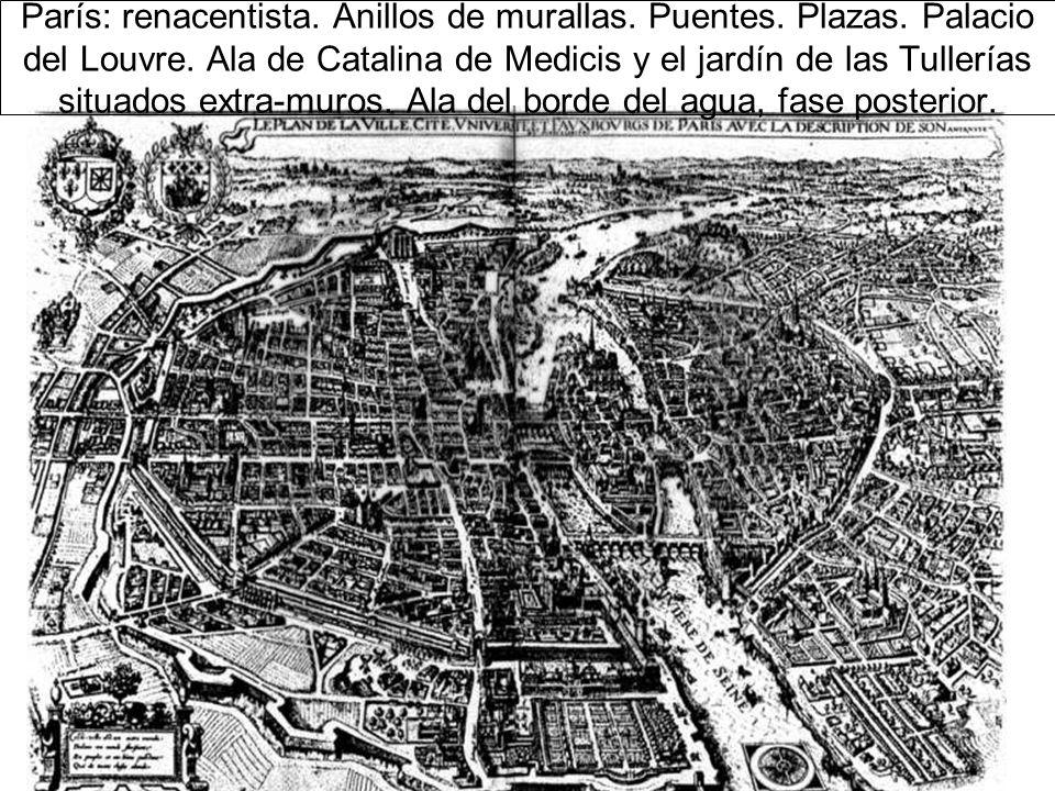 París: renacentista.Anillos de murallas. Puentes.