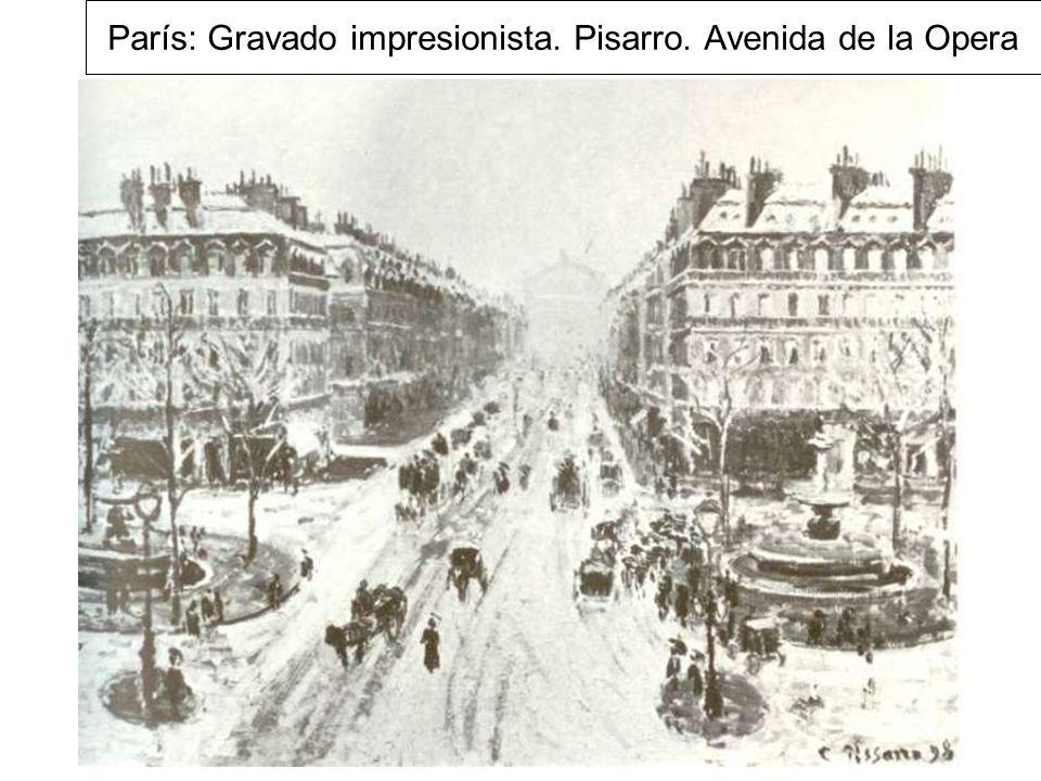París: Gravado impresionista. Pisarro. Avenida de la Opera