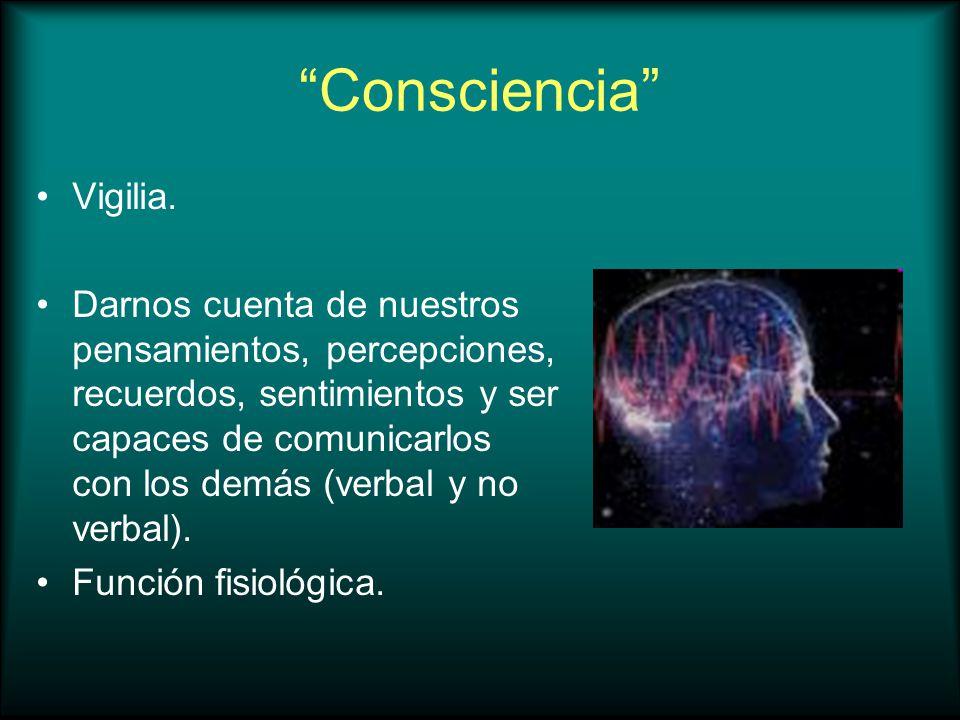 Consciencia Vigilia. Darnos cuenta de nuestros pensamientos, percepciones, recuerdos, sentimientos y ser capaces de comunicarlos con los demás (verbal
