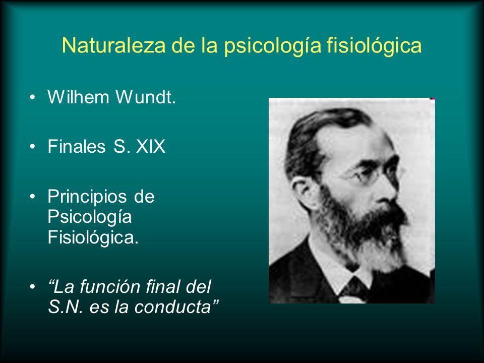 Naturaleza de la psicología fisiológica Wilhem Wundt. Finales S. XIX Principios de Psicología Fisiológica. La función final del S.N. es la conducta