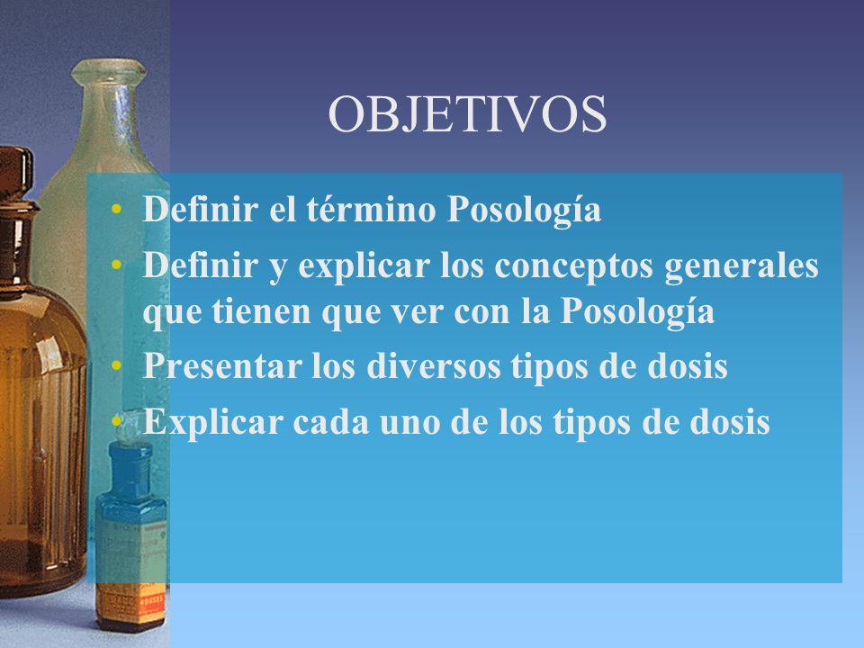 OBJETIVOS Definir el término Posología Definir y explicar los conceptos generales que tienen que ver con la Posología Presentar los diversos tipos de dosis Explicar cada uno de los tipos de dosis