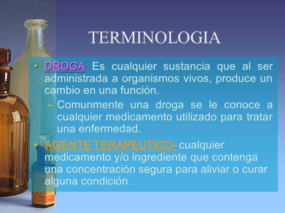 TERMINOLOGIA DROGADROGA Es cualquier sustancia que al ser administrada a organismos vivos, produce un cambio en una función. –Comunmente una droga se