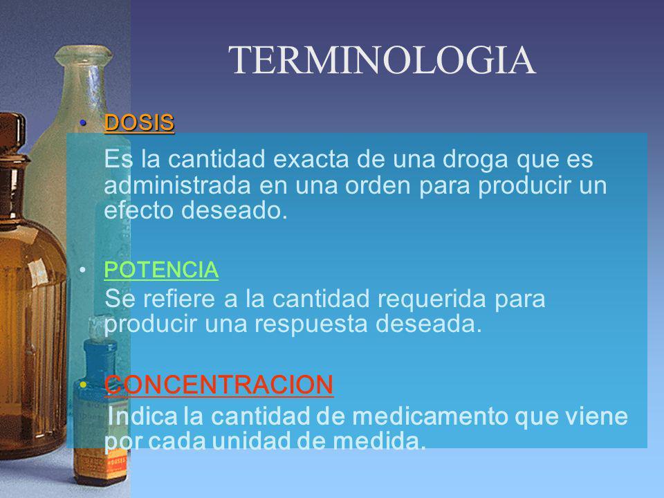 TERMINOLOGIA DOSISDOSIS Es la cantidad exacta de una droga que es administrada en una orden para producir un efecto deseado. POTENCIA Se refiere a la