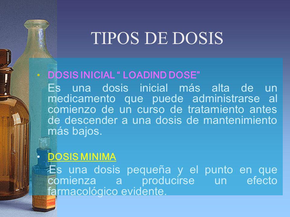 TIPOS DE DOSIS DOSIS INICIAL LOADIND DOSE Es una dosis inicial más alta de un medicamento que puede administrarse al comienzo de un curso de tratamiento antes de descender a una dosis de mantenimiento más bajos.