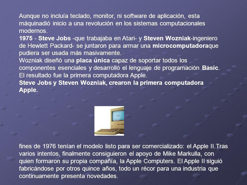 Aunque no incluía teclado, monitor, ni software de aplicación, esta máquinadió inicio a una revolución en los sistemas computacionales modernos. 1975