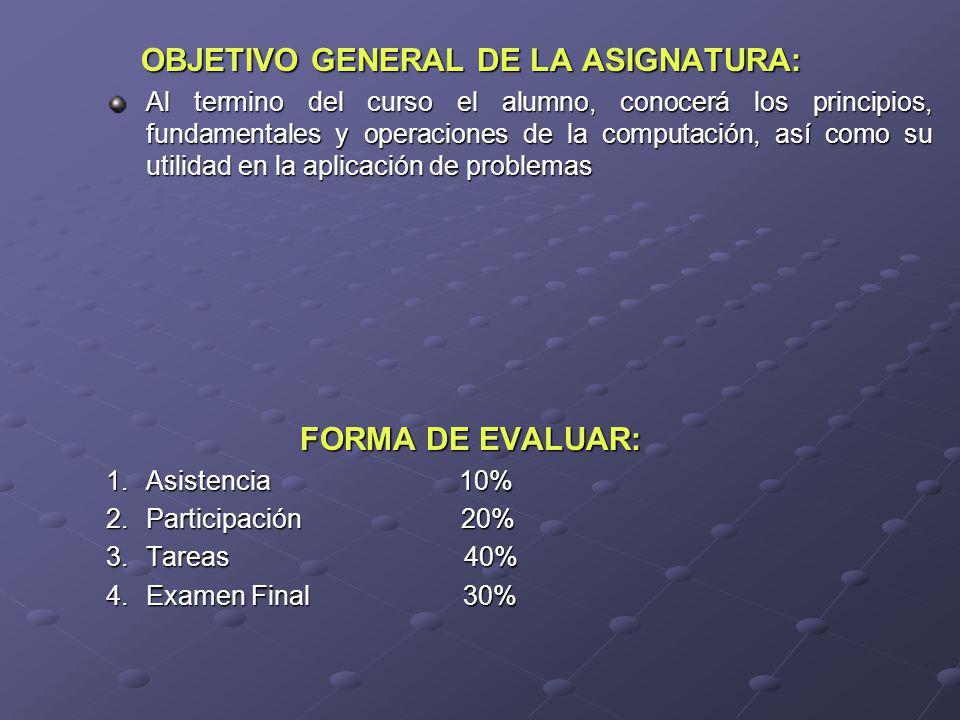 OBJETIVO GENERAL DE LA ASIGNATURA: Al termino del curso el alumno, conocerá los principios, fundamentales y operaciones de la computación, así como su