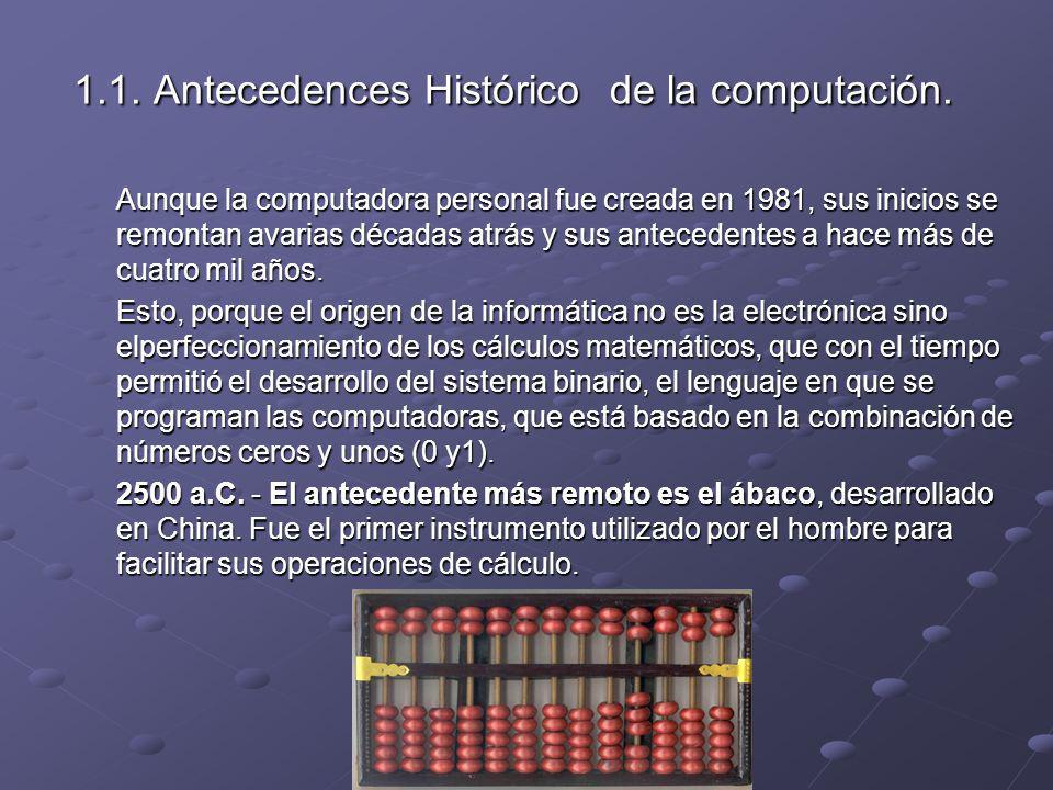 1.1. Antecedences Histórico de la computación. Aunque la computadora personal fue creada en 1981, sus inicios se remontan avarias décadas atrás y sus
