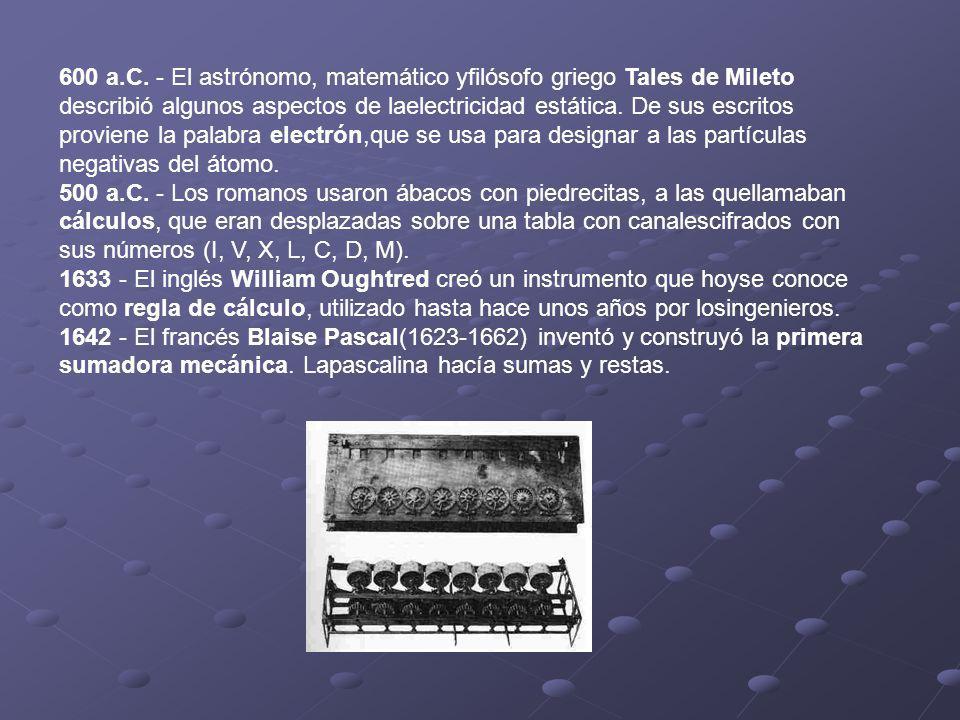 600 a.C. - El astrónomo, matemático yfilósofo griego Tales de Mileto describió algunos aspectos de laelectricidad estática. De sus escritos proviene l