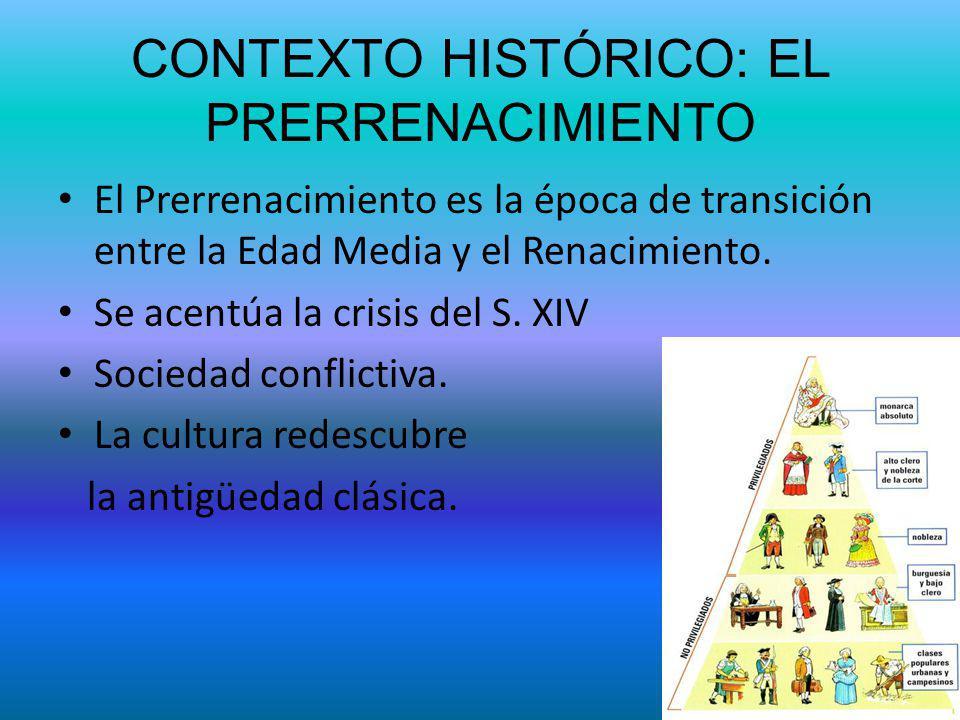 CONTEXTO HISTÓRICO: EL PRERRENACIMIENTO El Prerrenacimiento es la época de transición entre la Edad Media y el Renacimiento. Se acentúa la crisis del
