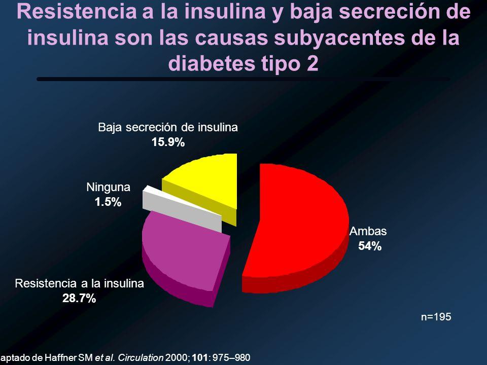 Resistencia a la insulina y baja secreción de insulina son las causas subyacentes de la diabetes tipo 2 Ambas 54% Resistencia a la insulina 28.7% Ning