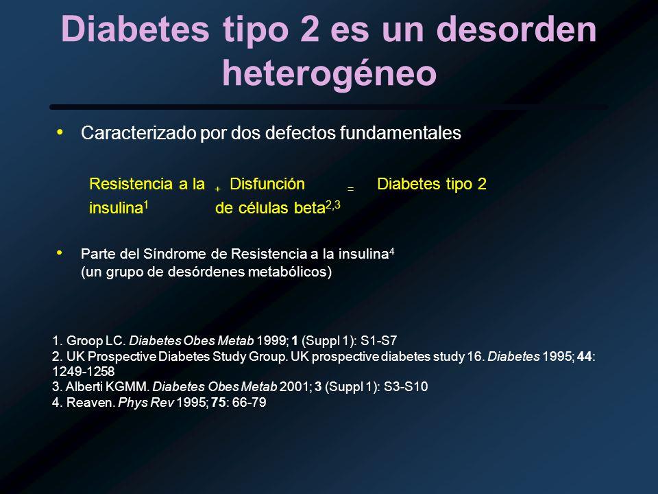 Diabetes tipo 2 es un desorden heterogéneo Caracterizado por dos defectos fundamentales Resistencia a la + Disfunción = Diabetes tipo 2 insulina 1 de