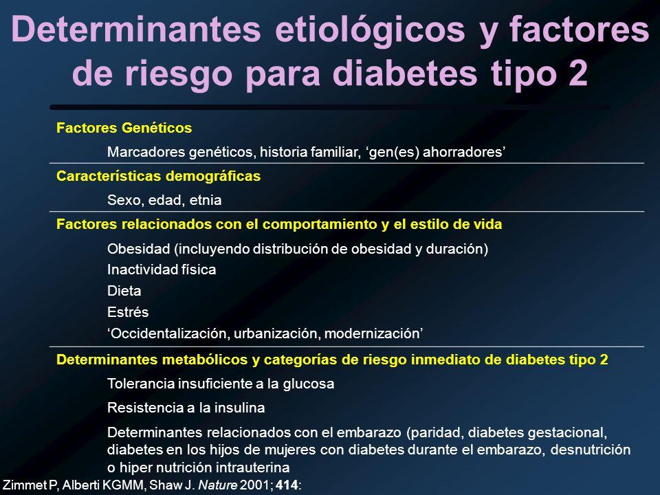 Determinantes etiológicos y factores de riesgo para diabetes tipo 2 Factores Genéticos Marcadores genéticos, historia familiar, gen(es) ahorradores Ca