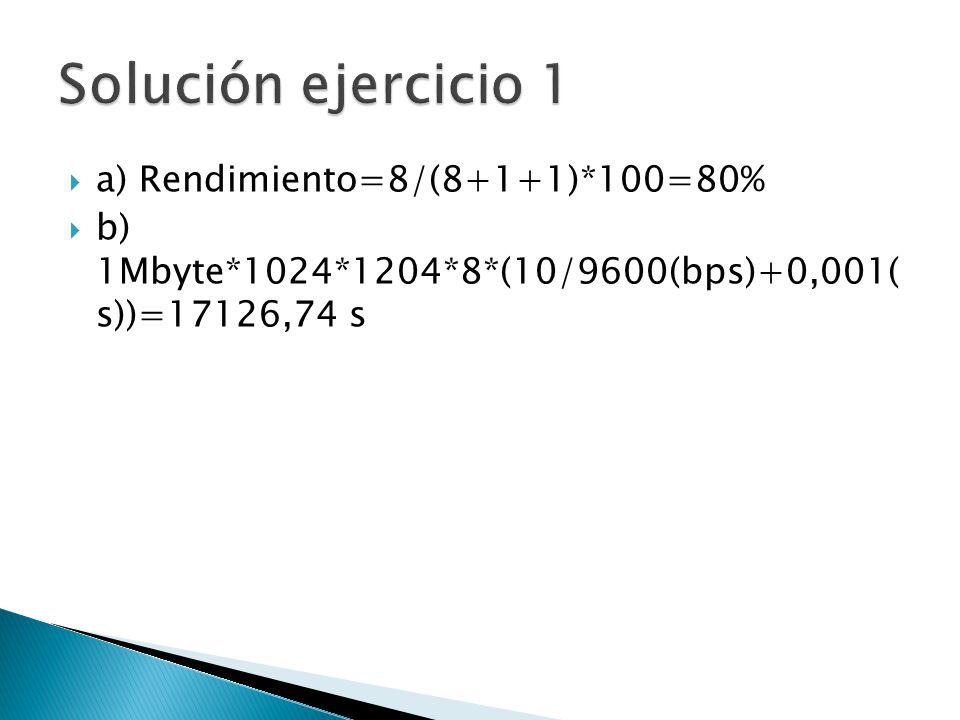 a) Rendimiento=8/(8+1+1)*100=80% b) 1Mbyte*1024*1204*8*(10/9600(bps)+0,001( s))=17126,74 s